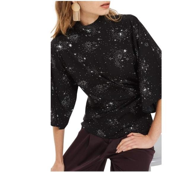 05d92934d0391e Topshop Tops | Nwt Black Star Print Origami Tuck Blouse | Poshmark